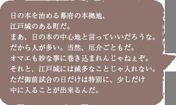 日の本を治める幕府の本拠地、江戸城のある町だ。まあ、日の本の中心地と言っていいだろうな。だから人が多い。当然、厄介ごともだ。オマエも妙な事に巻き込まれんじゃねぇぞ。それと、江戸城には滅多なことじゃ入れない。ただ御前試合の日だけは特別に、少しだけ中に入ることが出来るんだ。